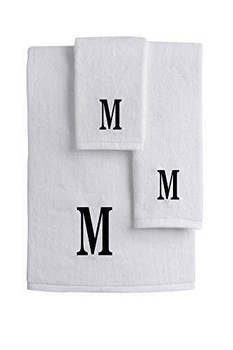 Mandola Home Decor Personalized Monogrammed 3-Piece Towel Set   100% Cotton   Bath Towel   Hand Towel   Face Towel   Soft and Absorbent Hotel Spa Quality (M) ()