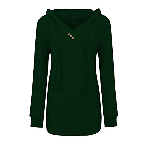 - Womens Long Sleeve Button V-Neck Pockets Sweatshirts Basic Loose Pullover Hoodies Shirts with Kangaroo Pocket (Green, XXXL)