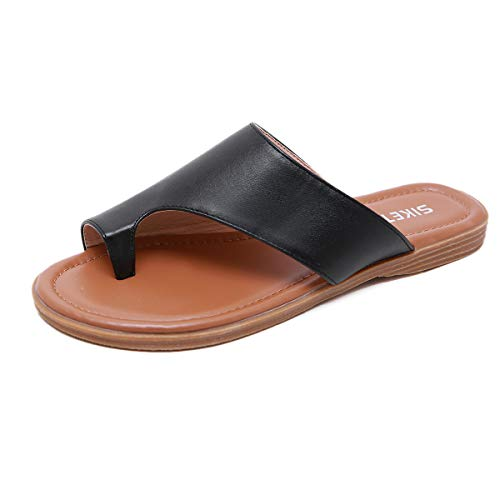 Bunion Sandals for Women Comfy - Bunion Corrector Flat Shoes BSF-1 Women Flip-Flop Light Weight Ladys Shoes 2019 Size 6 - Pu Black Bow Platform