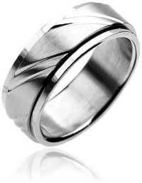 316L Stainless Steel Diacut Spinning Ring - Size: 9-13