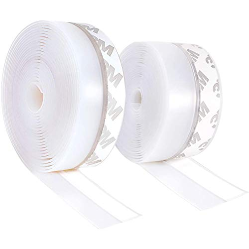 Draught Excluder Tape, 12m Self Adhesive Silicone Seal Strip, Weather Stripping Door Seal Strip Transparent Draft Draught Excluder Tape for Doors Window Windproof, Dust Proof, Insects Proof