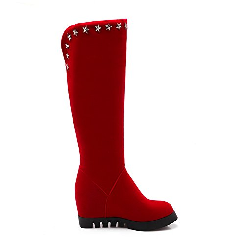 amp;N Platform Rivet Boots Red Heighten A Leather Inside Imitated Girls qTgPcwA