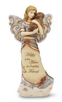 Elements Faithful Friend Angel Figurine by Pavilion, 7-1/2-Inch, Holding Puppy, Inscription Happy is The Heart of a Faithful Friend