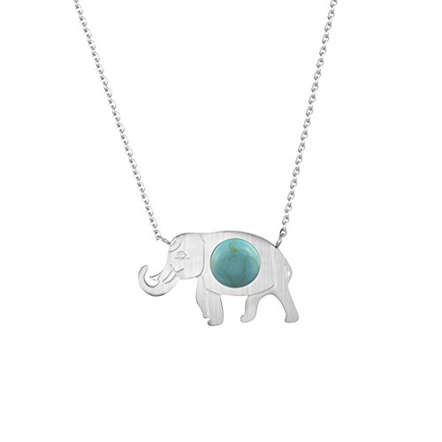 Elephant Necklace Turquoise Round Dot Setting Jewelry Bijoux Wedding Souvenirs Gifts (silver-plated-stainless-steel, blue-stone) (Bluestone Necklace)