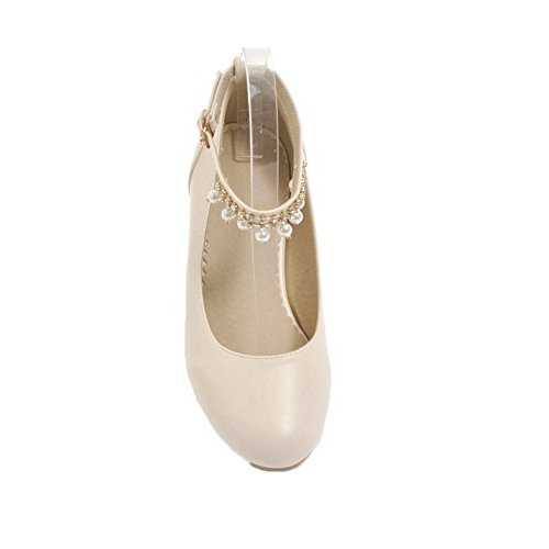 PU Shoes Heels Toe Women's Pull Beige Low Pumps On Round Solid Odomolor xEcBa