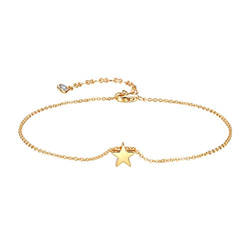- Mevecco Gold Star Charm Anklet,14K Gold Plated Boho Beach Dainty Cute Tiny Lucky Star Foot Chain Minimalist Simple Ankle Bracelet for Women
