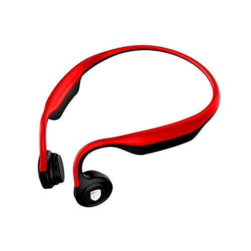 Bone Conduction Headphones Open-Ear Bluetooth Wireless Sports Headsets HiFi Music Stereo with Mic Sweatproof Noise Cancelling Earphone for PC/Cell Phones/TV (Red)