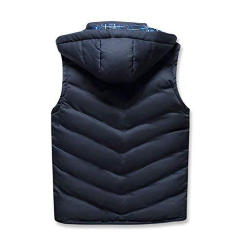 Invernale Senza Distintivo Con Huixin Cappuccio Outdoor Trapuntato Mitten Uomo Blau Gilet Maniche Rimovibile Giacca Da wqBqUna1