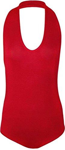 Commencer Womens Plain Halter Neck Sleeveless Stretch Leotard Top RED-M/L