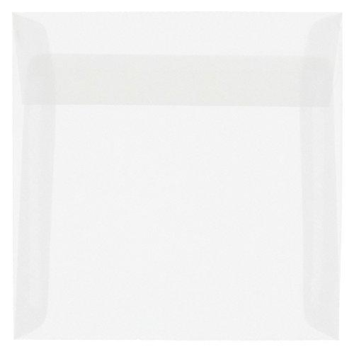 JAM PAPER 6 x 6 Square Translucent Vellum Invitation Envelopes - Clear - 50/Pack ()