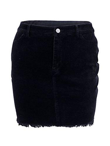 Simplee Apparel Women 's Vintage Retro pana bodycon mini falda de talle alto Negro