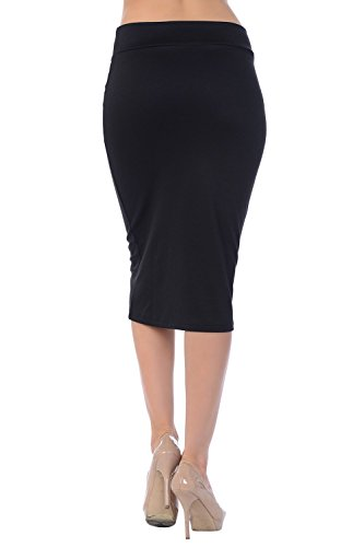 Jubilee Couture Women's Ponte Roma Midi Pencil Skirt (1X, Black)