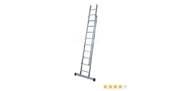 KTL Escalera Industrial de Aluminio Apoyo Doble extensión Manual 2 x 7 peldaños con Barra estabilizadora Serie Excalibur: Amazon.es: Hogar
