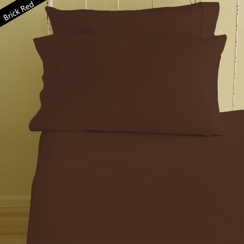 255 Brick - Solid Pattern 4 Piece Sheet Set 400 Thread Count 8
