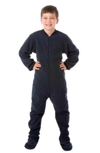 Big Feet Pjs Big Boys Junior Navy Fleece Footed Pajamas (X-Small)