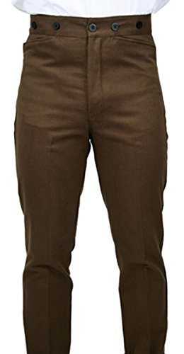 Historical Emporium Men's High Waist 100% Brushed Cotton Trousers 38 Sable Brown
