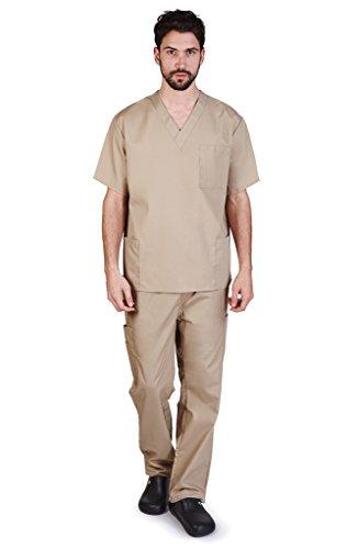 (NATURAL UNIFORMS Men's Scrub Set Medical Scrub Top and Pants L Khaki)