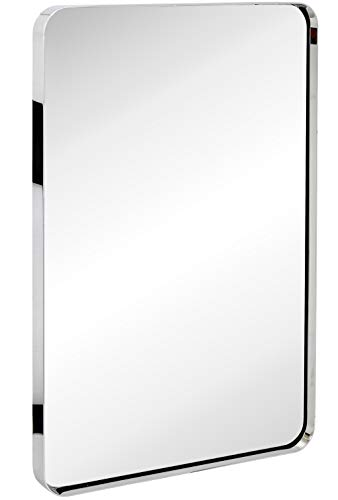 Hamilton Hills Contemporary Polished Metal Wall Mirror | Glass Panel Silver Framed Rounded Corner Deep Set Design | Mirrored Rectangle Hangs Horizontal or Vertical (24
