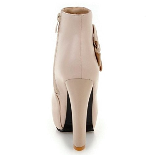 RAZAMAZA High Booties Ankle Elegant Bowknot Beige Shoes Women Heel rtwaqr1