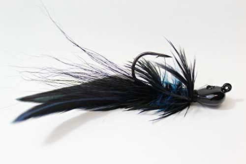 (Black and Blue - Lunker Size Haggs Hellraiser Bugz Jig - Tournament Bass (1/4 oz - 3/0 Hook))