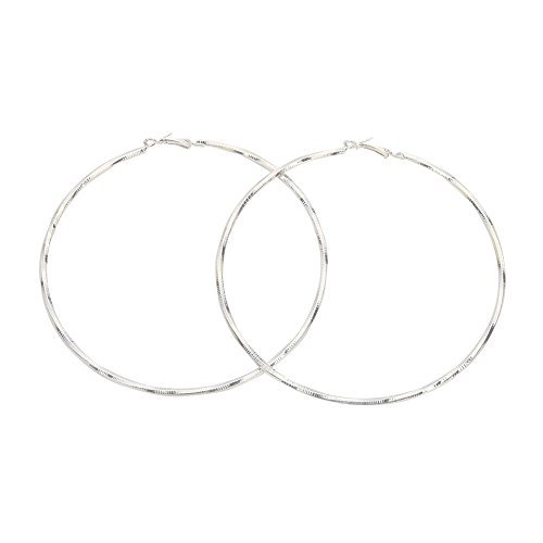 Extra Large Round Circle Twist Metal Hoop Earrings for Women(Silver)
