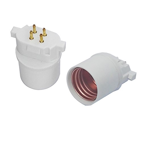 (2pcs E-Simpo GX10Q to E26 Lamp Base Adapter, CFL PL Lamp base to LED E26 Light Socket Adapter,GX10Q to E26 Adapter.Need Bypass Ballast (Gx10q to E26/E27))