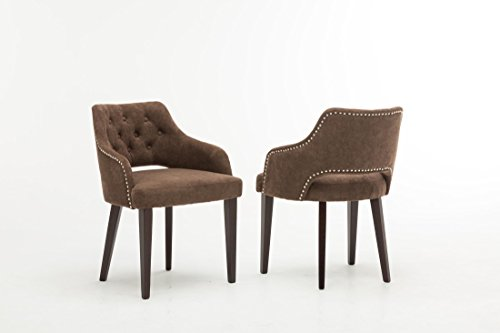 Set of 2 Oliver Smith Contemporary Tufted Nailed Microfiber Modern Sofa Chair Sofa Arm Chairs 10009 Brown