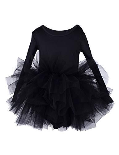 (Kids Girls Ballet Tutu Dress Gymnastics Long Sleeve 4-Layers Tulle Tutu Leotard Black 3-4 Years)
