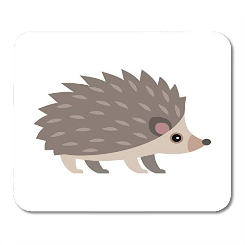 (Emvency Mouse Pads Brown Flat of Cute Hedgehog Animal Face Forest Urchin Cartoon Mousepad 9.5