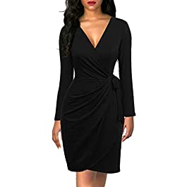 Berydress Women's Black Wrap Dress Sexy Deep V Neck Long Sleeve Knee-Length Cocktail Party Dresses