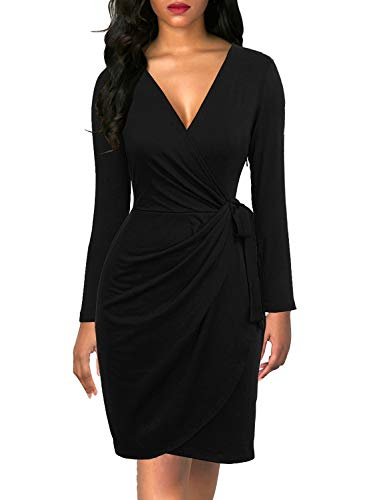 Berydress Women's Long Sleeve Sexy V-Neck Belted Stretchy Sheath Long Sleeve Faux Wrap Knee-Length Black Dress (M, 6090-Black)