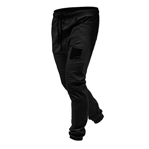 Sport Jogging Cordage Zipper Pockets Pantalons Pour Survêtement Noir Hommes Malloom Classique Pantalon De Uwqn1ExH66