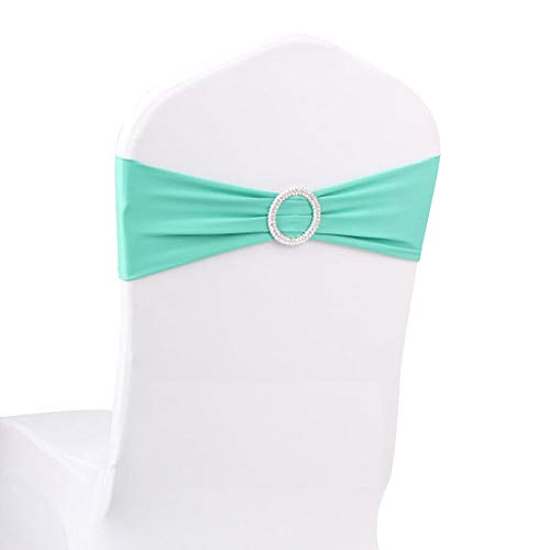 Color Any Sash (LOVWY 50 PCS Tiffany Spandex Chair Bands Stretch Chair Sashes Bows for Wedding Party Engagement Event Birthday Graduation Meeting Banquet Decoration)