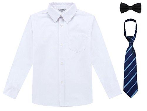 Bienzoe Boy's School Uniform Long Sleeve Button Down Oxford Shirt & Tie, Bowtie White Size 5