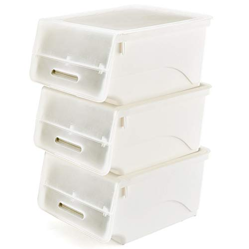Stackable Storage Bins with Lids, [3-Pack] EZOWare Plastic Stackable Storage Cubes Bin Box Containers for Home, Office, Nursery, Closet, Bedroom, Living Room - White/Clear
