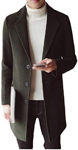 Comaba Mens Fall Winter Eco Fleece Double-Breasted Duster Coat