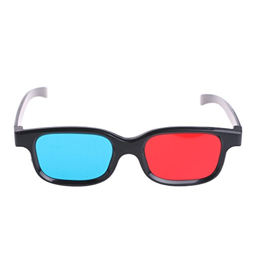 Khfun RB-01Red-Blue Cyan Anaglyph 0.2mm 3D Glasses With Unversal Black Frame For 3D Movies