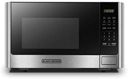 BLACK+DECKER Digital Microwave Oven with Turntable Push-Button Door, Child Safety Lock, Stainless Steel, 0.9 Cu.toes