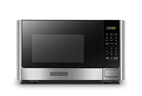 Best BLACK+DECKER EM925AB9 Digital Microwave Oven with Turntable Push-Button Door,Child Safety Lock,900W,0.9 cu.ft,Stainless Steel,
