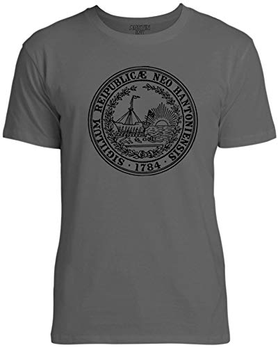 Austin Ink Apparel New Hampshire State Seal Unisex Womens Soft Cotton Tee, Asphalt Gray, XX-Large - New Hampshire State Seal