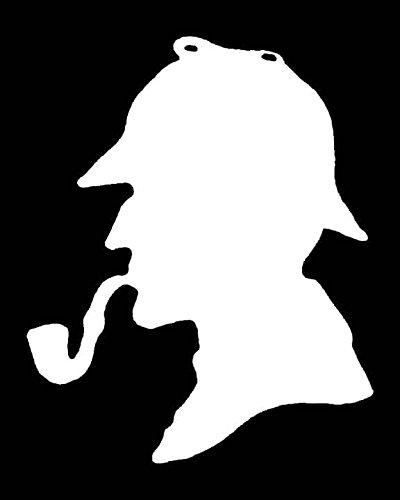 Original Sherlock Holmes Costume (Original Sherlock Silhoute With Pipe Decal Vinyl Sticker|Cars Trucks Vans Walls Laptop| White |5.5 x 4.5 in|LLI160)