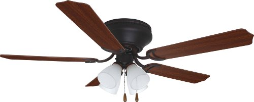 - Litex BRC52ORB5L Schuster Collection 52-Inch Ceiling Fan with Five Reversible Cherry/Mahogany Blades and Four Light kit with Frosted Glass