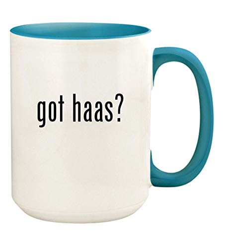 got haas? - 15oz Ceramic Colored Handle and Inside Coffee Mug Cup, Light Blue