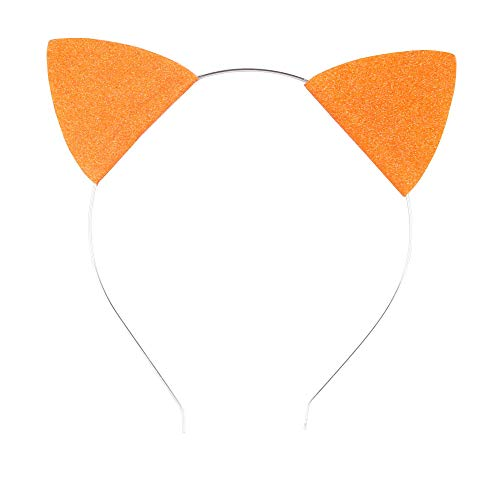 Lovely Children and Baby Glitter Kitten Ears Headband Cat Ears Children Hair Bands (Orange Silver)
