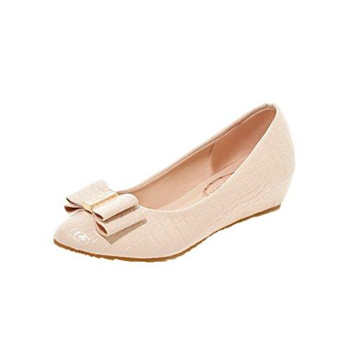 Mujeres Beige Tacón Sin Cordones Agoolar Zapatos De Redonda Puntera Sólido Mini OwCdZ4Ufd