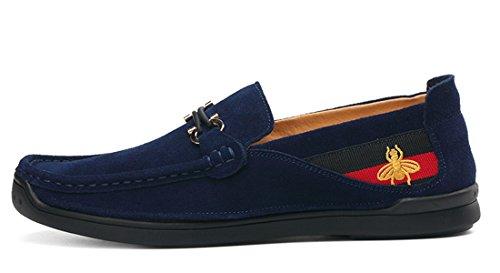 Tda Slip-on Para Hombre Moda Penny Mocasines Bota De Cuero De Conducción Zapatos Para Caminar Azul