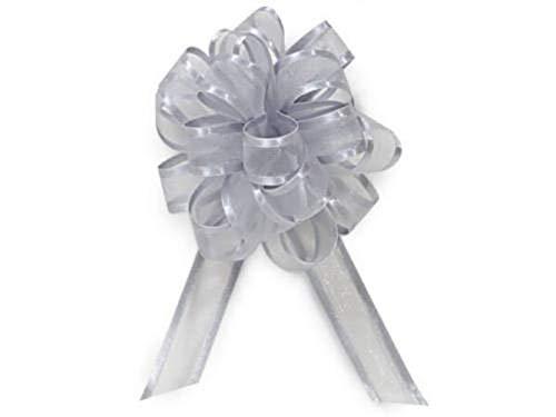 48 Silver Sheer Organza Satin Edge Pull Anniversary Holiday Weddings Gift Bows Party Supplies tokocathy