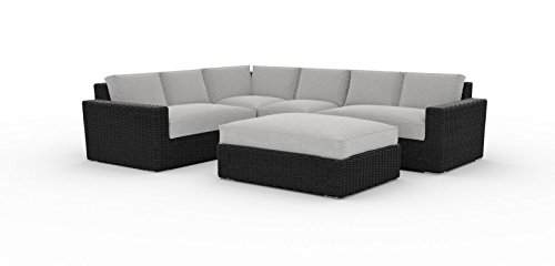 Toja Turo Outdoor Patio Sectional Set (5 pcs) | Wicker Rattan Body with Sunbrella Cushions (Half Round Wicker/Cast Silver)