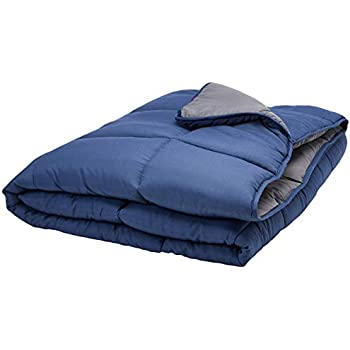 Linenspa All-Season Reversible Down Alternative Quilted Comforter - Hypoallergenic - Plush Microfiber Fill - Machine Washable - Duvet Insert or Stand-Alone Comforter - Navy/Graphite - Full