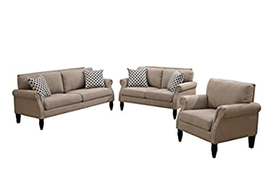 Poundex Bobkona Faymoor Velveteen Fabric 3Piece Sofa, Loveseat & Chair Set in Sand